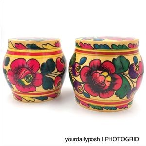 Vintage USSR floral matryoshka wood containers